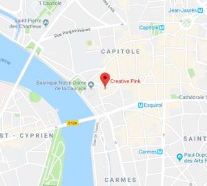 carte avec addresse de la boutique Creative Pink, boutique atelier de créateurs en mode, accessoires, bijoux et maroquinerie à 10 rue Cujas de Toulouse