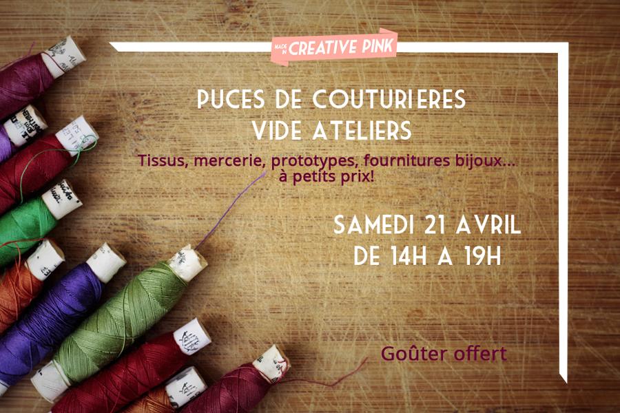 Puces de couturières et vide atelier à la boutique Creative Pink à Toulouse