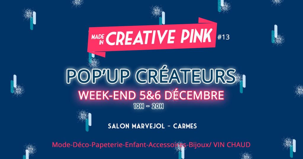 Pop Up Creative Pink : un marché de Noël créateurs aux Carmes à Toulouse 2020